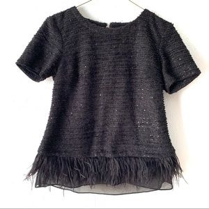 Deletta Anthropologie sequin feather fringe top